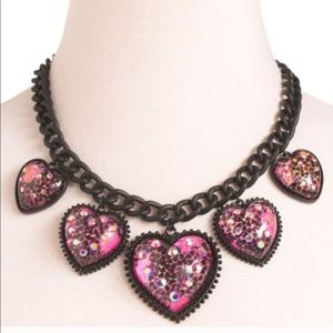 🆕Betsey Johnson Glitter Heart Chain Necklace
